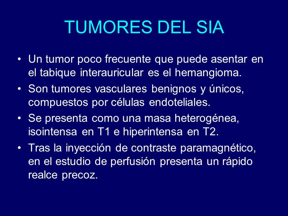TUMORES DEL SIA Un tumor poco frecuente que puede asentar en el tabique interauricular es el hemangioma. Son tumores vasculares benignos y únicos, com