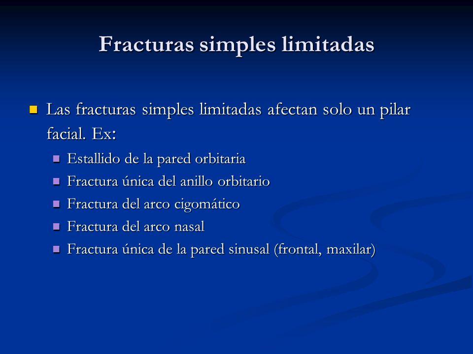 Fracturas simples limitadas Las fracturas simples limitadas afectan solo un pilar facial. Ex : Las fracturas simples limitadas afectan solo un pilar f