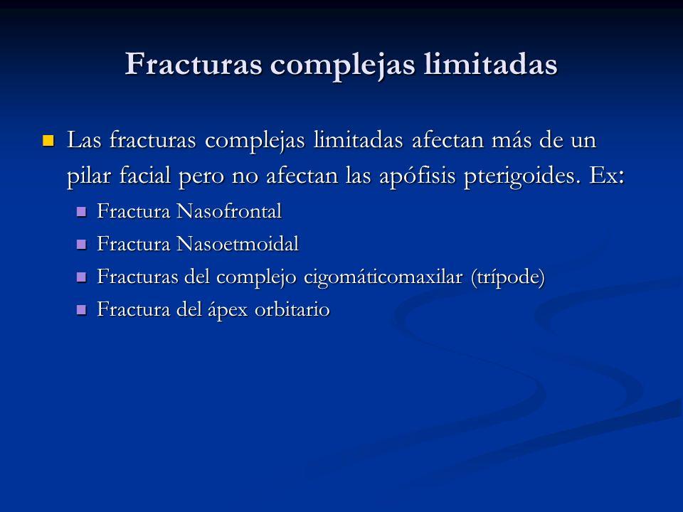 Fracturas complejas limitadas Las fracturas complejas limitadas afectan más de un pilar facial pero no afectan las apófisis pterigoides. Ex : Las frac