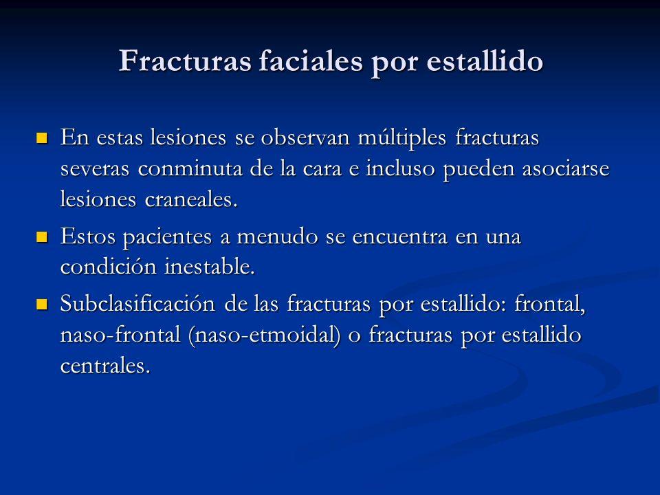 Fracturas faciales por estallido En estas lesiones se observan múltiples fracturas severas conminuta de la cara e incluso pueden asociarse lesiones cr
