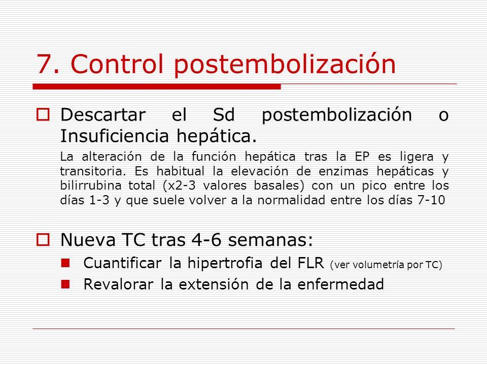 7. Control postembolización Descartar el Sd postembolización o Insuficiencia hepática. La alteración de la función hepática tras la EP es ligera y tra