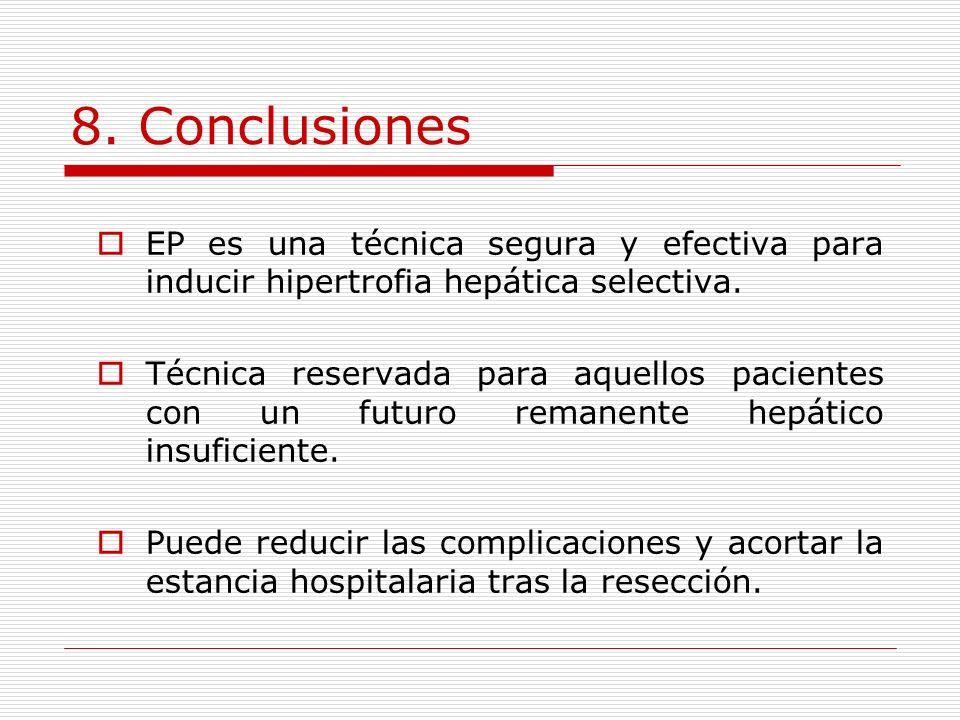 8. Conclusiones EP es una técnica segura y efectiva para inducir hipertrofia hepática selectiva. Técnica reservada para aquellos pacientes con un futu