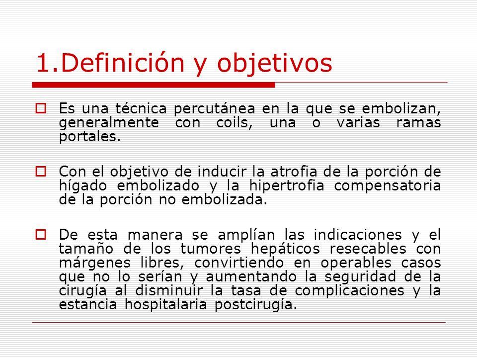 1.Definición y objetivos Es una técnica percutánea en la que se embolizan, generalmente con coils, una o varias ramas portales. Con el objetivo de ind
