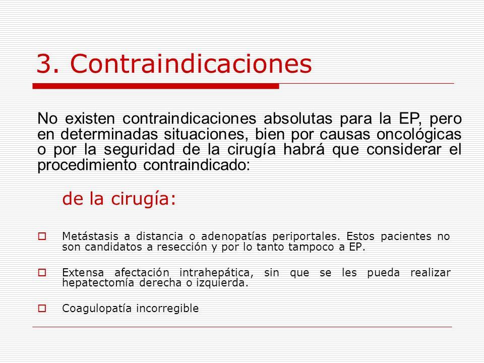 3. Contraindicaciones de la cirugía: Metástasis a distancia o adenopatías periportales. Estos pacientes no son candidatos a resección y por lo tanto t