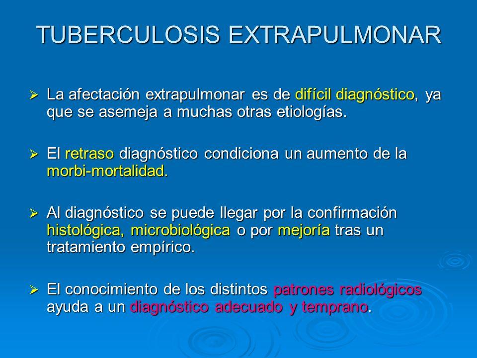 TUBERCULOSIS EXTRAPULMONAR La afectación extrapulmonar es de difícil diagnóstico, ya que se asemeja a muchas otras etiologías. La afectación extrapulm