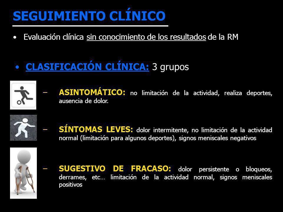 SEGUIMIENTO CLÍNICO Evaluación clínica sin conocimiento de los resultados de la RM CLASIFICACIÓN CLÍNICA: 3 grupos –ASINTOMÁTICO: no limitación de la actividad, realiza deportes, ausencia de dolor.
