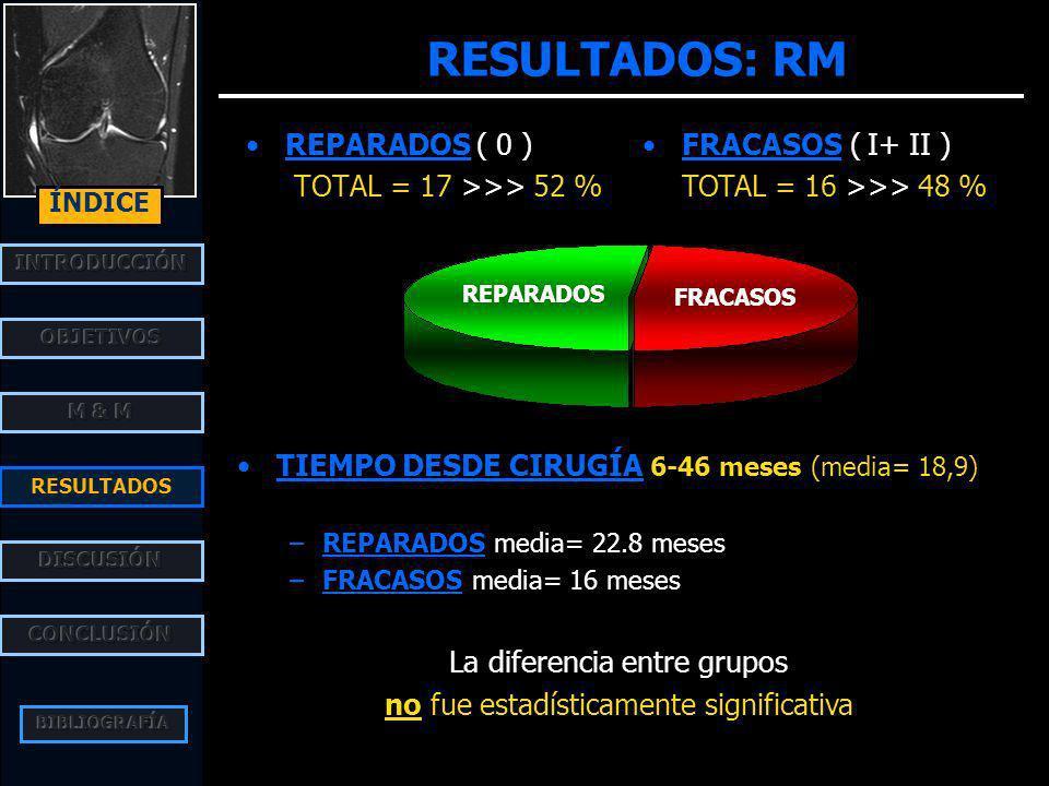 RESULTADOS: RM REPARADOS ( 0 ) TOTAL = 17 >>> 52 % 0 a0 b II aII b REPARADOS FRACASOS FRACASOS ( I+ II ) TOTAL = 16 >>> 48 % RESULTADOS ÍNDICE Nalt. s