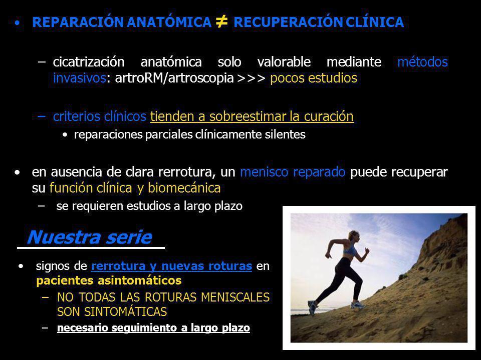 REPARACIÓN ANATÓMICA RECUPERACIÓN CLÍNICA –cicatrización anatómica solo valorable mediante métodos invasivos: artroRM/artroscopia >>> pocos estudios –