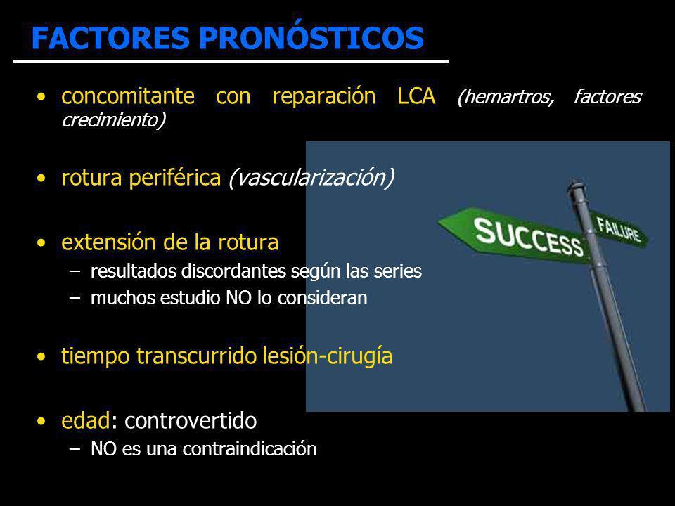 FACTORES PRONÓSTICOS concomitante con reparación LCA (hemartros, factores crecimiento) rotura periférica (vascularización) extensión de la rotura –res
