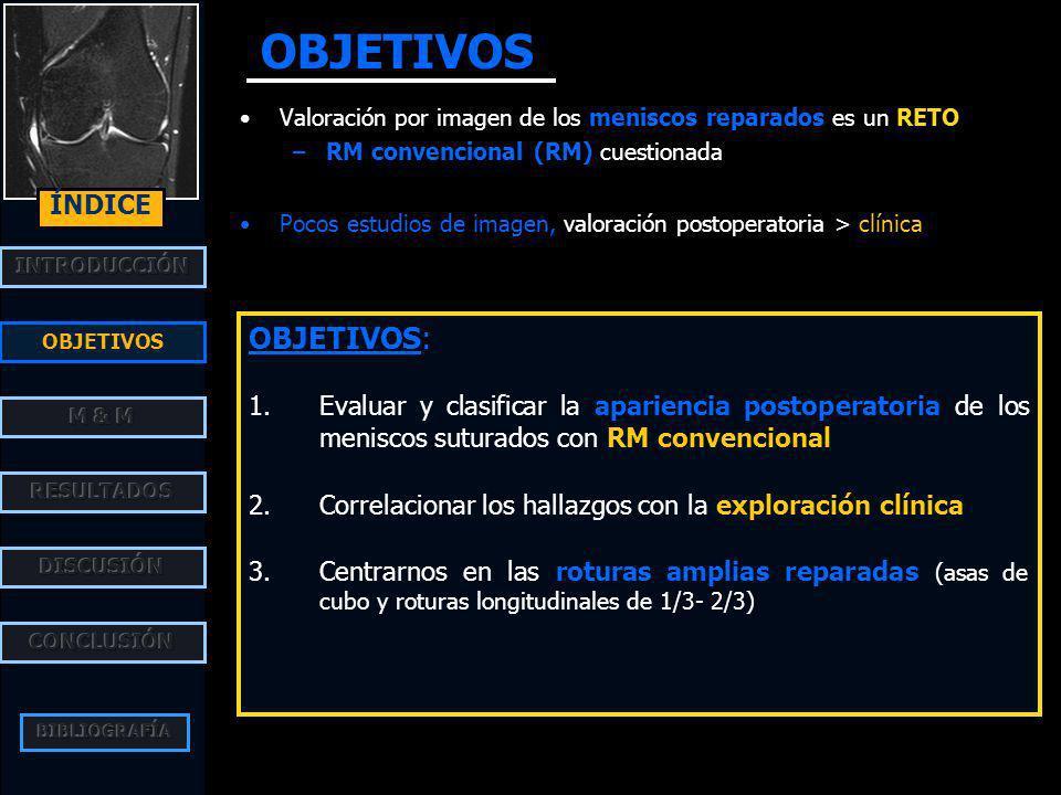 GRUPO I: no concluyente >>> FRACASO rotura original: asa de cubo+ LCA tiempo: 24 meses - clinicam.