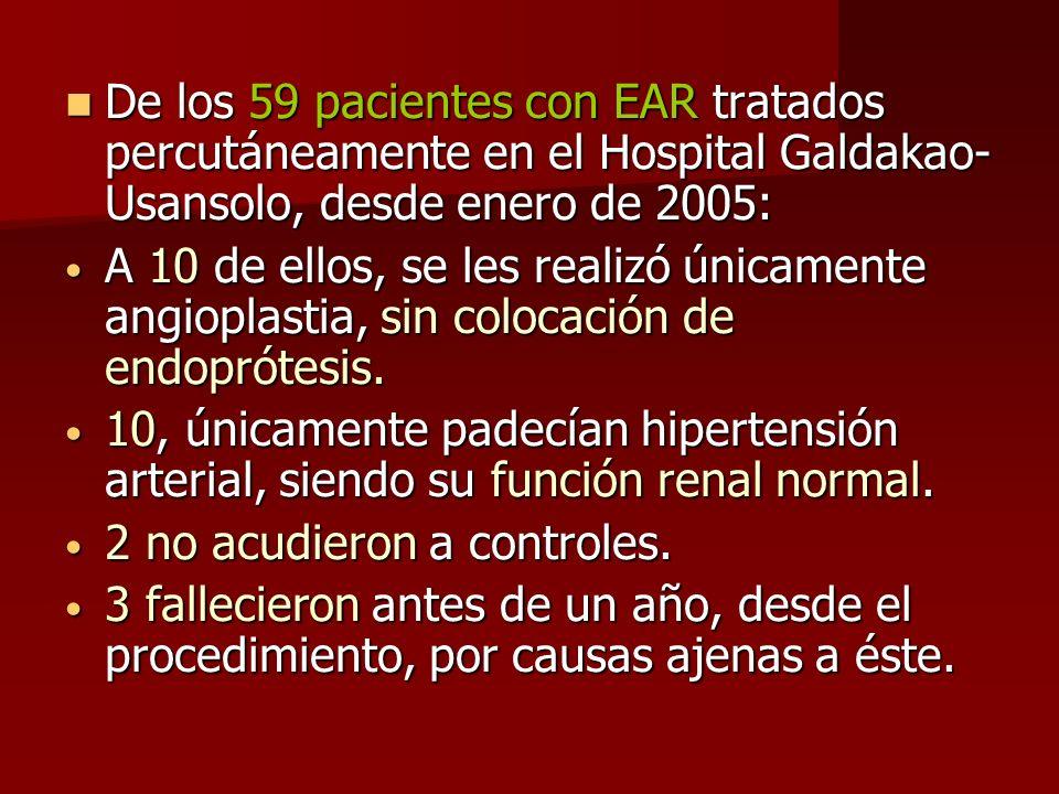 De los 59 pacientes con EAR tratados percutáneamente en el Hospital Galdakao- Usansolo, desde enero de 2005: De los 59 pacientes con EAR tratados perc