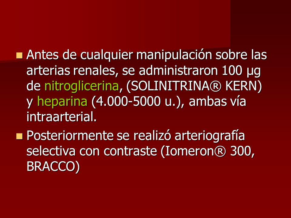 Antes de cualquier manipulación sobre las arterias renales, se administraron 100 µg de nitroglicerina, (SOLINITRINA® KERN) y heparina (4.000-5000 u.),