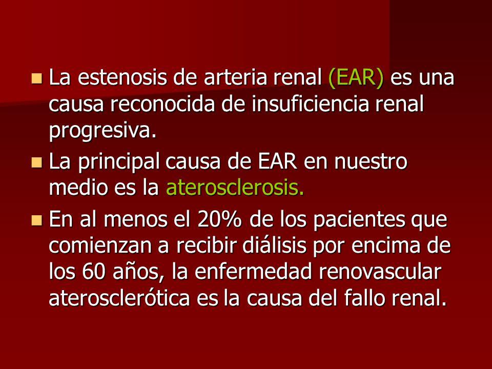 La estenosis de arteria renal (EAR) es una causa reconocida de insuficiencia renal progresiva. La estenosis de arteria renal (EAR) es una causa recono
