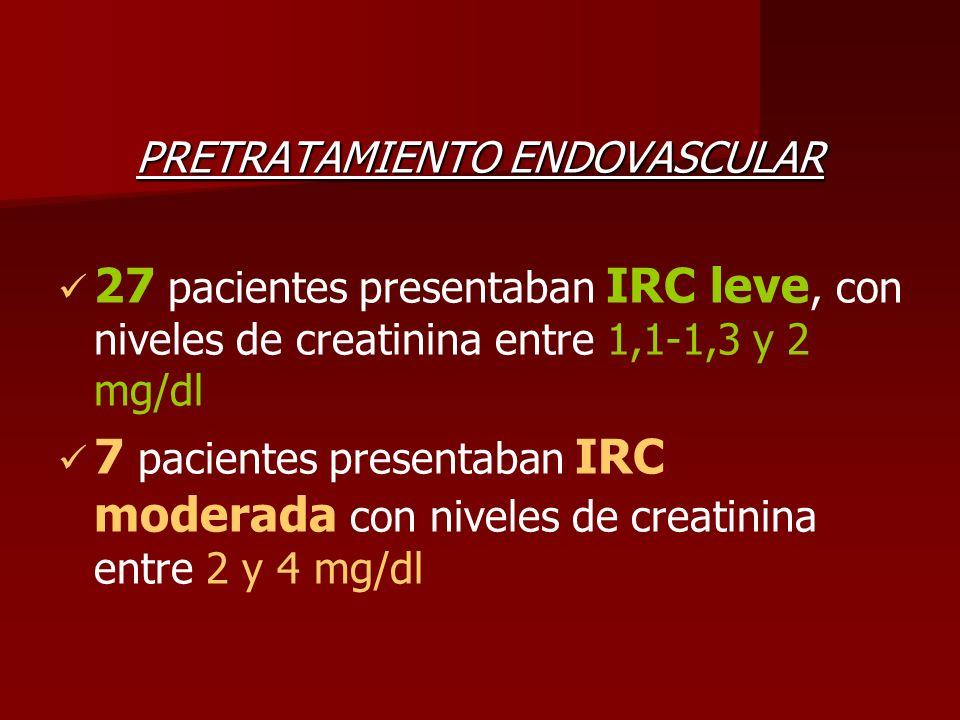 PRETRATAMIENTO ENDOVASCULAR 27 pacientes presentaban IRC leve, con niveles de creatinina entre 1,1-1,3 y 2 mg/dl 7 pacientes presentaban IRC moderada
