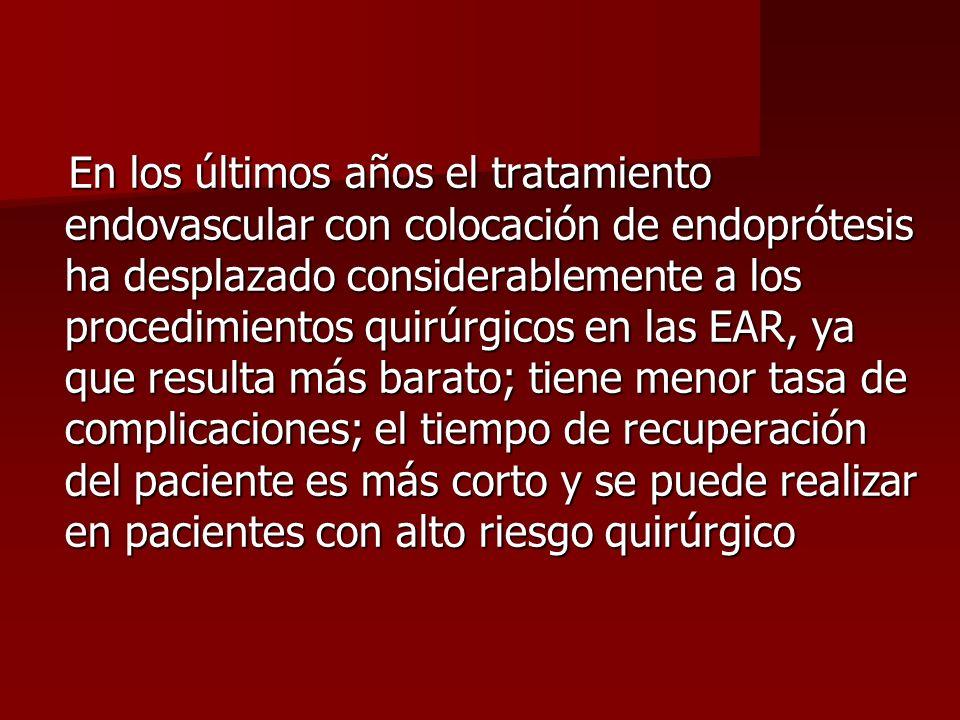 En los últimos años el tratamiento endovascular con colocación de endoprótesis ha desplazado considerablemente a los procedimientos quirúrgicos en las