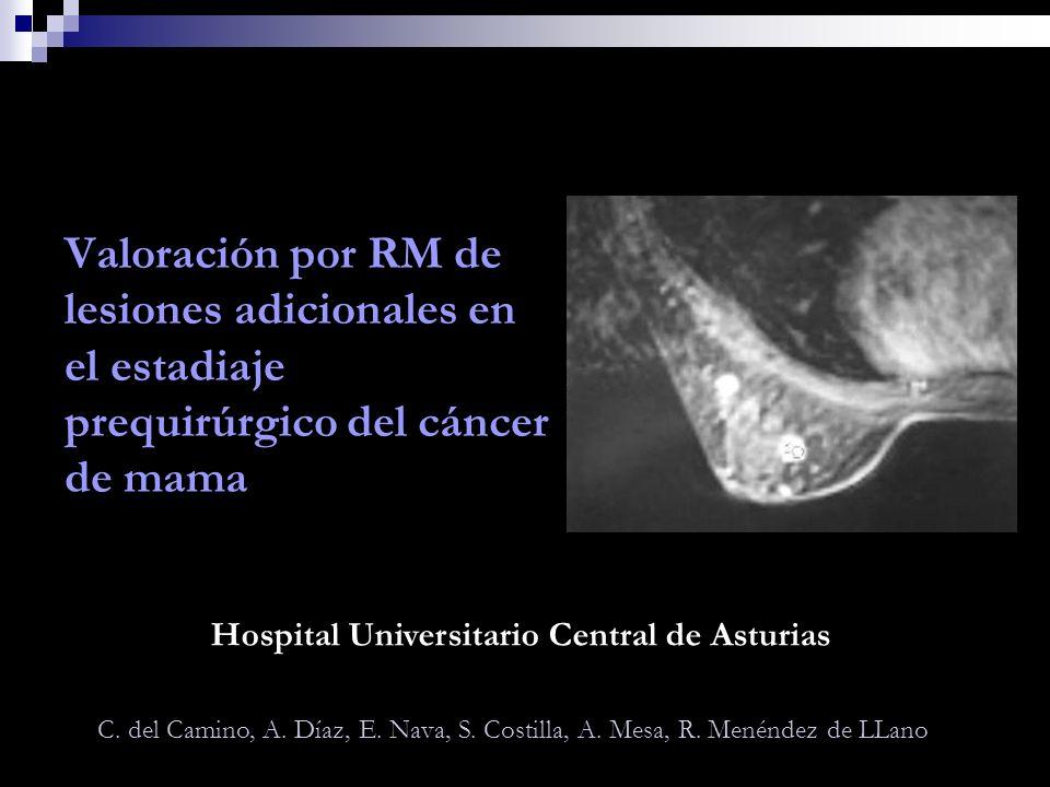 Valoración por RM de lesiones adicionales en el estadiaje prequirúrgico del cáncer de mama C. del Camino, A. Díaz, E. Nava, S. Costilla, A. Mesa, R. M