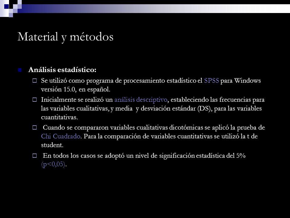 Material y métodos Análisis estadístico: Se utilizó como programa de procesamiento estadístico el SPSS para Windows versión 15.0, en español. Inicialm