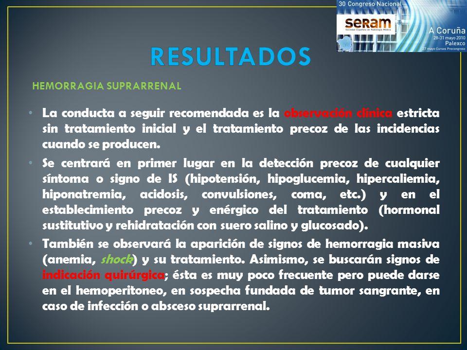 La conducta a seguir recomendada es la observación clínica estricta sin tratamiento inicial y el tratamiento precoz de las incidencias cuando se produ