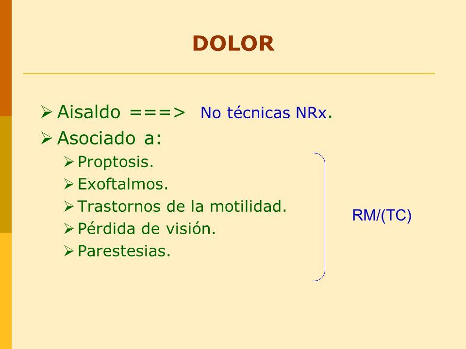 Aisaldo ===> No técnicas NRx. Asociado a: Proptosis. Exoftalmos. Trastornos de la motilidad. Pérdida de visión. Parestesias. RM/(TC) DOLOR