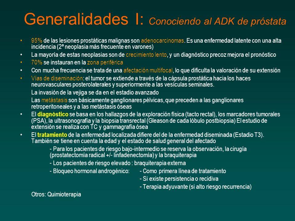 Generalidades I: Conociendo al ADK de próstata 95% de las lesiones prostáticas malignas son adenocarcinomas.