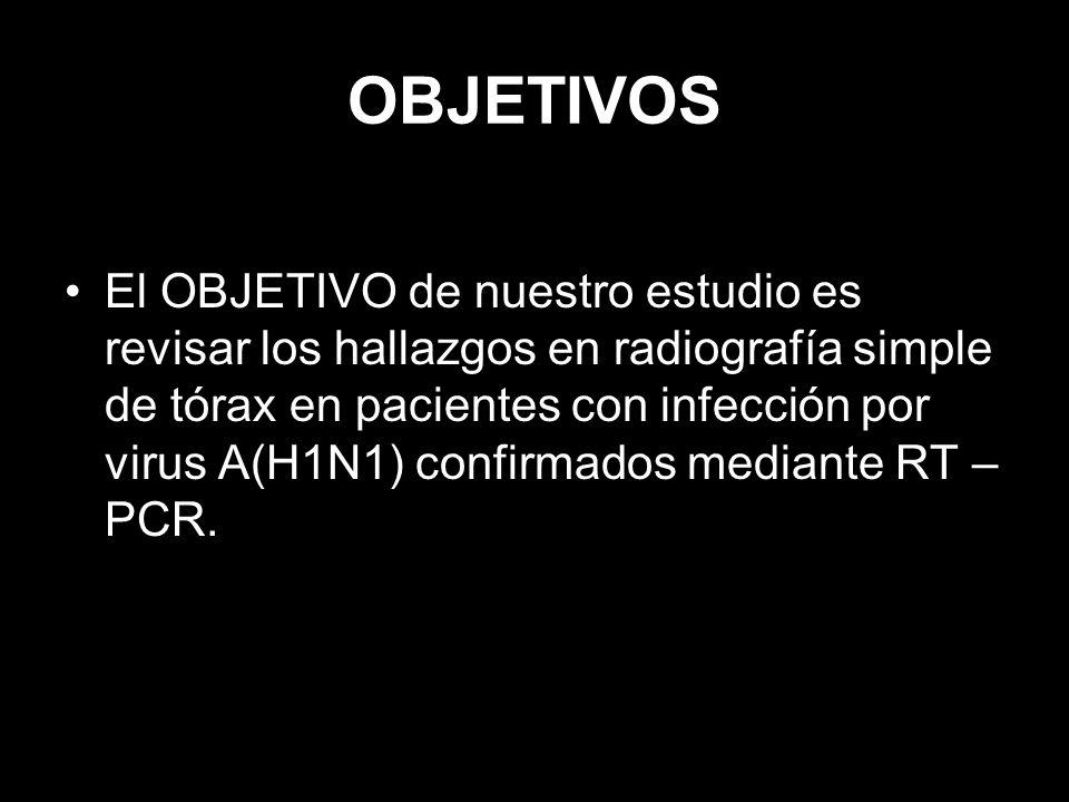 MATERIAL Y MÉTODOS Revisión retrospectiva de: – Radiografía de tórax – Formulario de notificación oficial – Hª clínica de pacientes con infección por virus gripe A(H1N1)