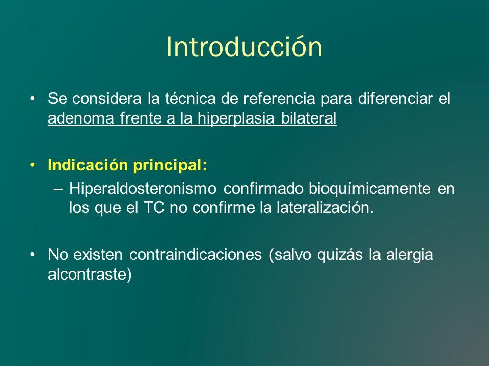 Introducción Se considera la técnica de referencia para diferenciar el adenoma frente a la hiperplasia bilateral Indicación principal: –Hiperaldostero