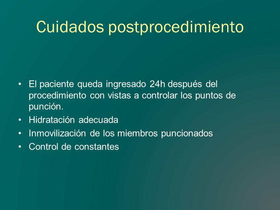 Cuidados postprocedimiento El paciente queda ingresado 24h después del procedimiento con vistas a controlar los puntos de punción. Hidratación adecuad