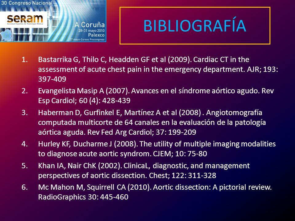 BIBLIOGRAFÍA 1.Bastarrika G, Thilo C, Headden GF et al (2009). Cardiac CT in the assessment of acute chest pain in the emergency department. AJR; 193: