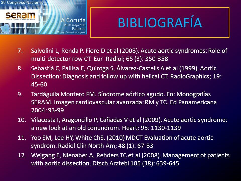 BIBLIOGRAFÍA 7.Salvolini L, Renda P, Fiore D et al (2008). Acute aortic syndromes: Role of multi-detector row CT. Eur Radiol; 65 (3): 350-358 8.Sebast