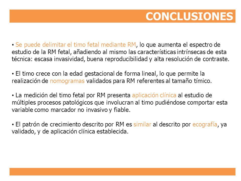 CONCLUSIONES Se puede delimitar el timo fetal mediante RM, lo que aumenta el espectro de estudio de la RM fetal, añadiendo al mismo las característica