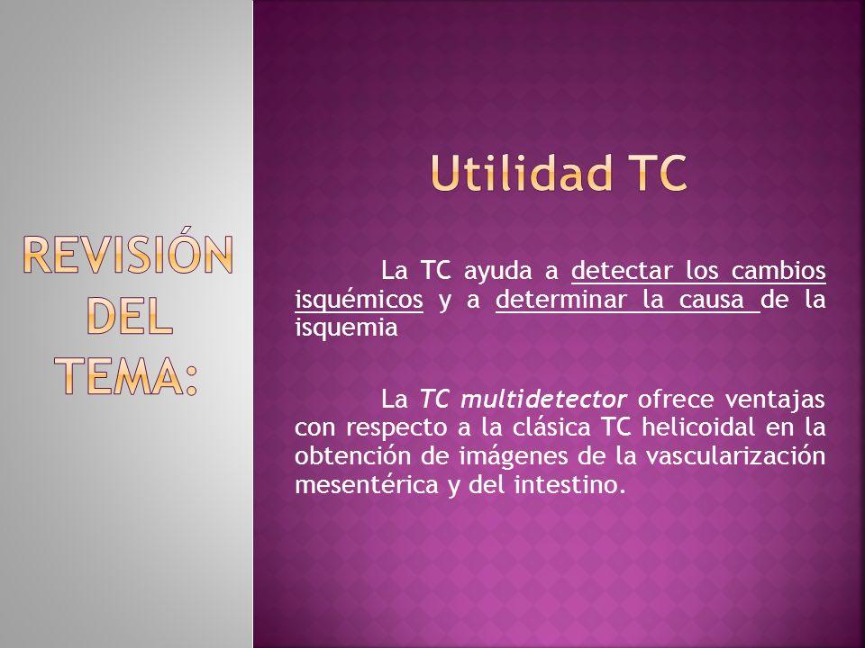 La TC ayuda a detectar los cambios isquémicos y a determinar la causa de la isquemia La TC multidetector ofrece ventajas con respecto a la clásica TC