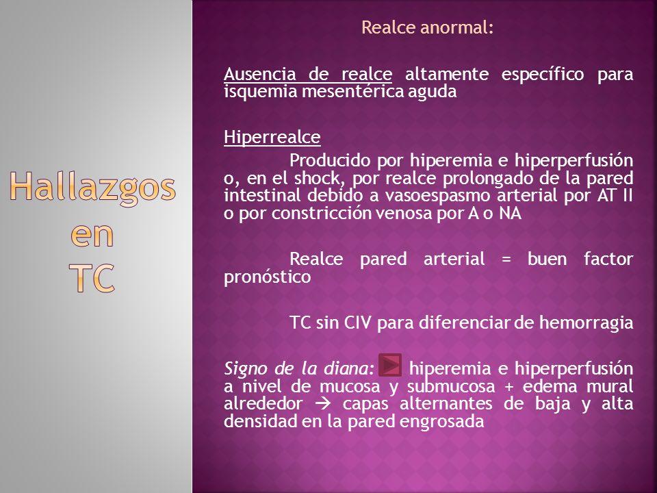 Realce anormal: Ausencia de realce altamente específico para isquemia mesentérica aguda Hiperrealce Producido por hiperemia e hiperperfusión o, en el
