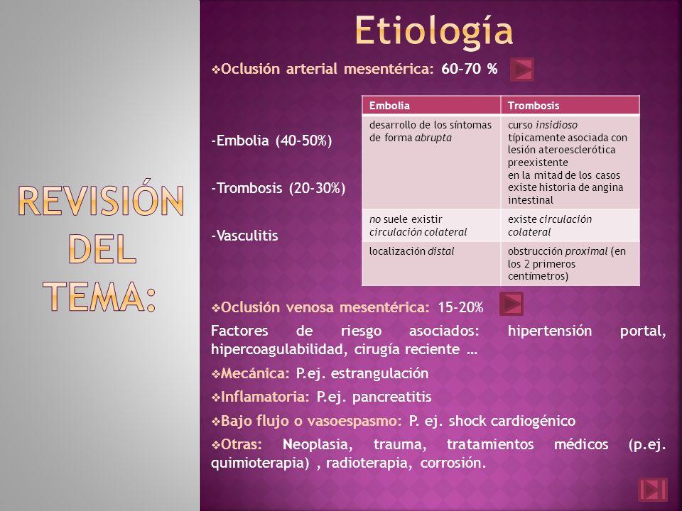 Oclusión arterial mesentérica: 60-70 % -Embolia (40-50%) -Trombosis (20-30%) -Vasculitis Oclusión venosa mesentérica: 15-20% Factores de riesgo asocia
