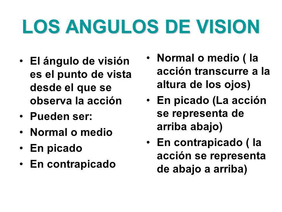 LOS ANGULOS DE VISION El ángulo de visión es el punto de vista desde el que se observa la acción Pueden ser: Normal o medio En picado En contrapicado