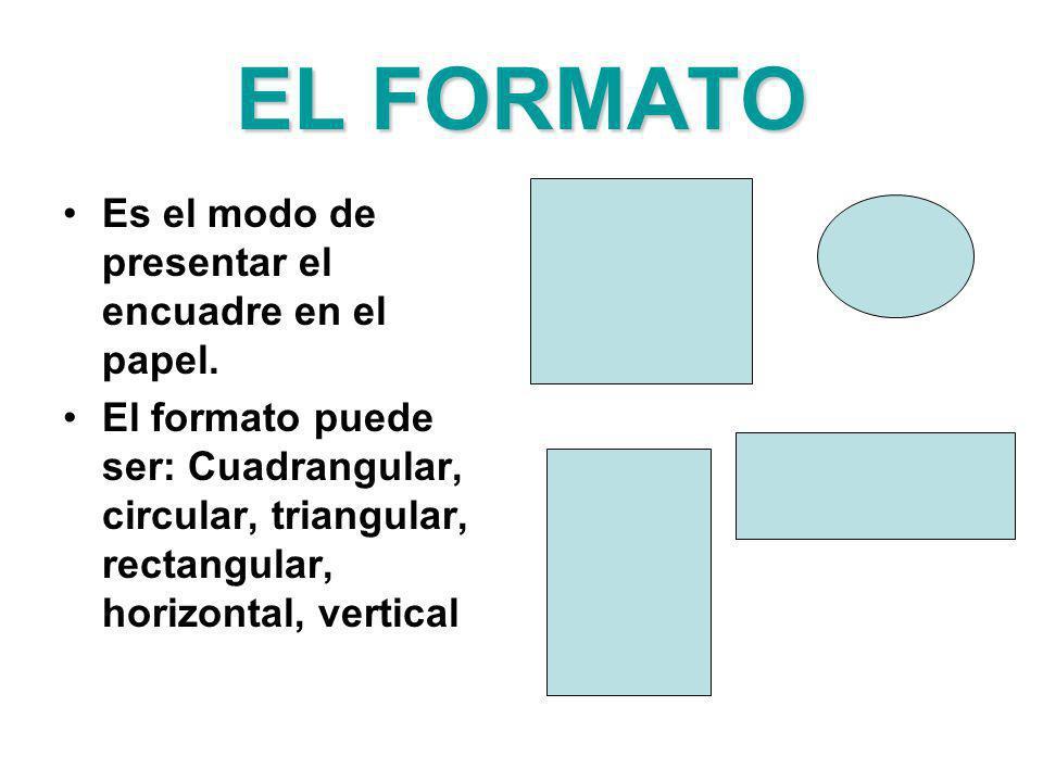 EL FORMATO Es el modo de presentar el encuadre en el papel. El formato puede ser: Cuadrangular, circular, triangular, rectangular, horizontal, vertica