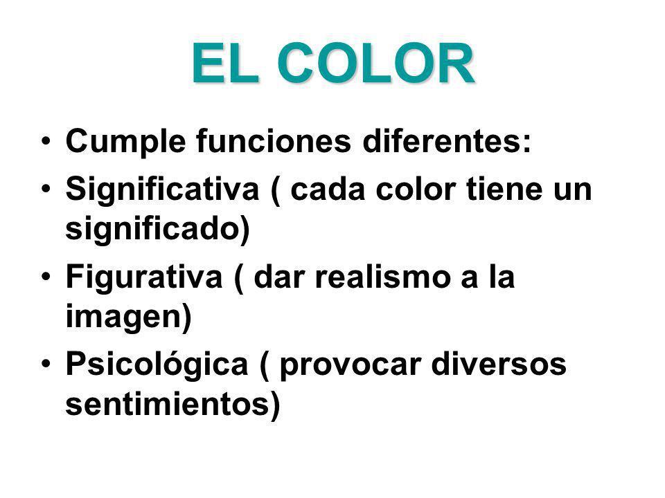 EL COLOR Cumple funciones diferentes: Significativa ( cada color tiene un significado) Figurativa ( dar realismo a la imagen) Psicológica ( provocar d