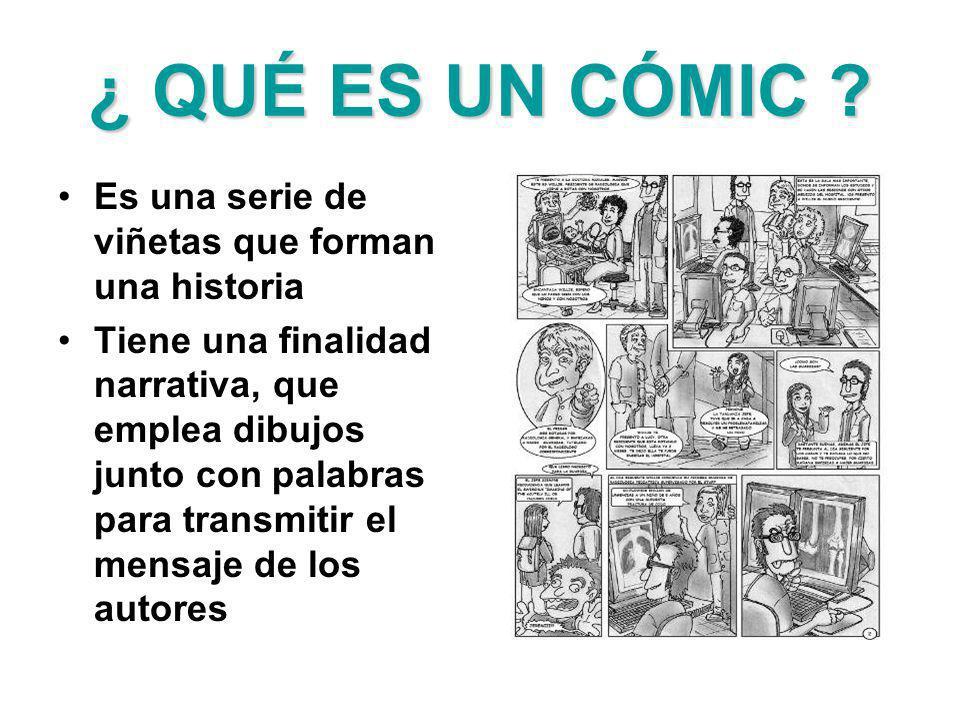 ¿ QUÉ ES UN CÓMIC ? Es una serie de viñetas que forman una historia Tiene una finalidad narrativa, que emplea dibujos junto con palabras para transmit