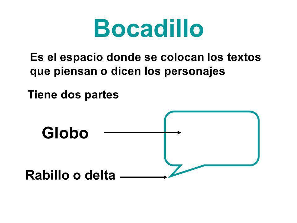 Bocadillo Es el espacio donde se colocan los textos que piensan o dicen los personajes Tiene dos partes Globo Rabillo o delta