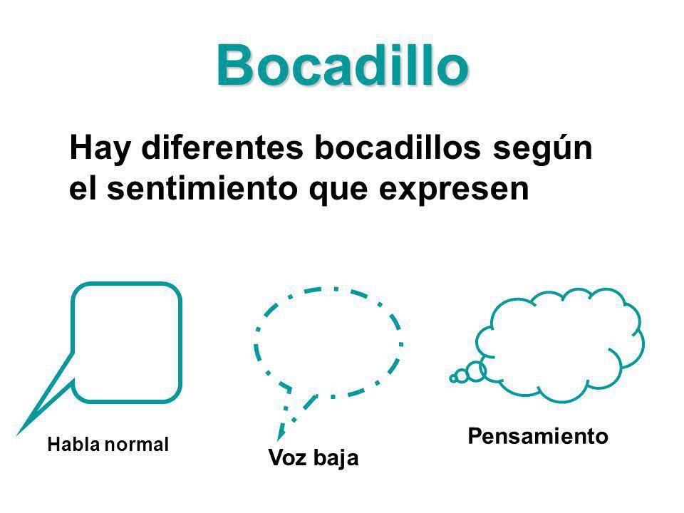 Bocadillo Hay diferentes bocadillos según el sentimiento que expresen Habla normal Voz baja Pensamiento