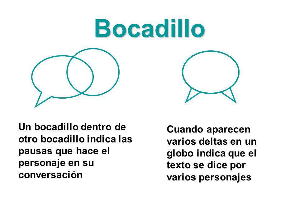 Bocadillo Un bocadillo dentro de otro bocadillo indica las pausas que hace el personaje en su conversación Cuando aparecen varios deltas en un globo i