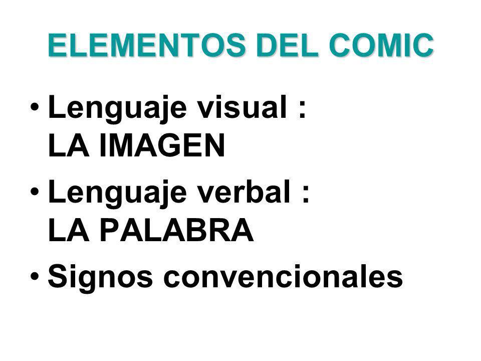 ELEMENTOS DEL COMIC Lenguaje visual : LA IMAGEN Lenguaje verbal : LA PALABRA Signos convencionales