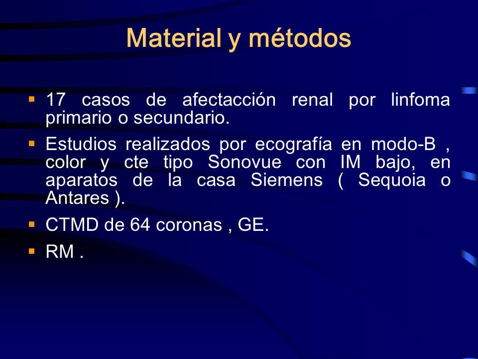 Material y métodos 17 casos de afectacción renal por linfoma primario o secundario. Estudios realizados por ecografía en modo-B, color y cte tipo Sono