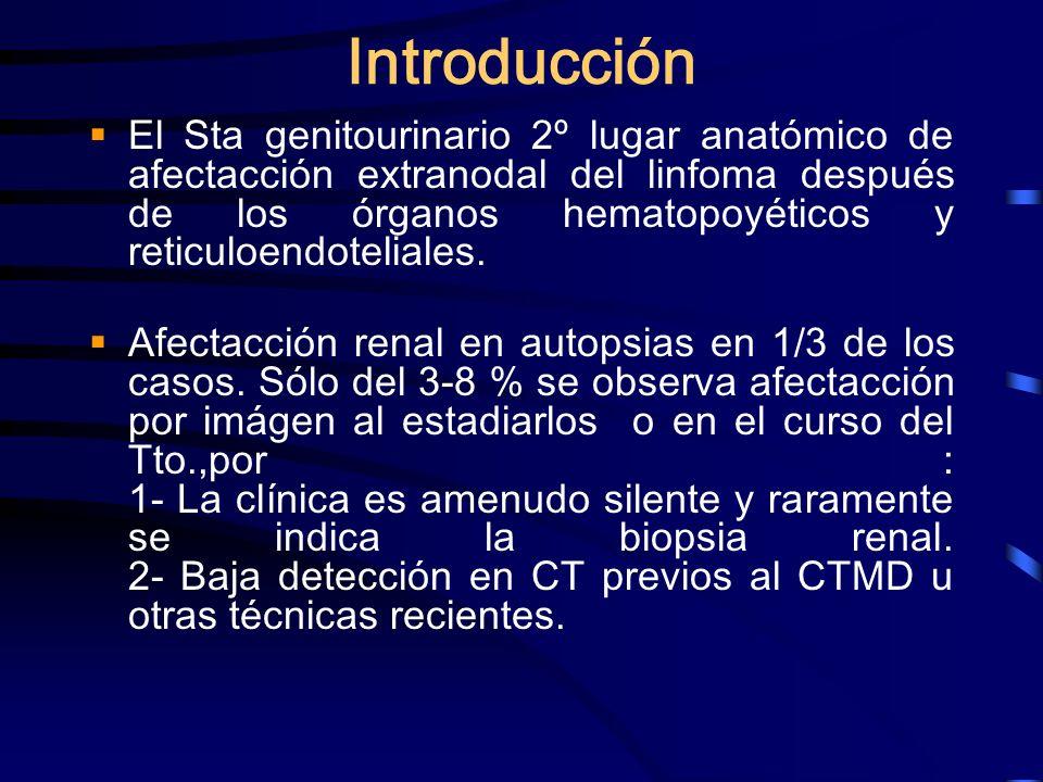 Introducción El Sta genitourinario 2º lugar anatómico de afectacción extranodal del linfoma después de los órganos hematopoyéticos y reticuloendotelia