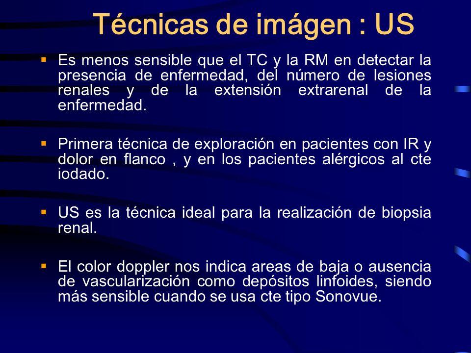 Técnicas de imágen : US Es menos sensible que el TC y la RM en detectar la presencia de enfermedad, del número de lesiones renales y de la extensión e