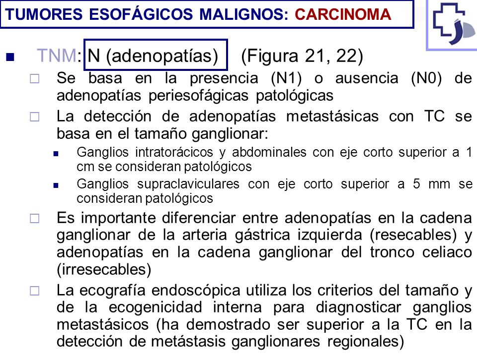 TNM: N (adenopatías) (Figura 21, 22) Se basa en la presencia (N1) o ausencia (N0) de adenopatías periesofágicas patológicas La detección de adenopatía