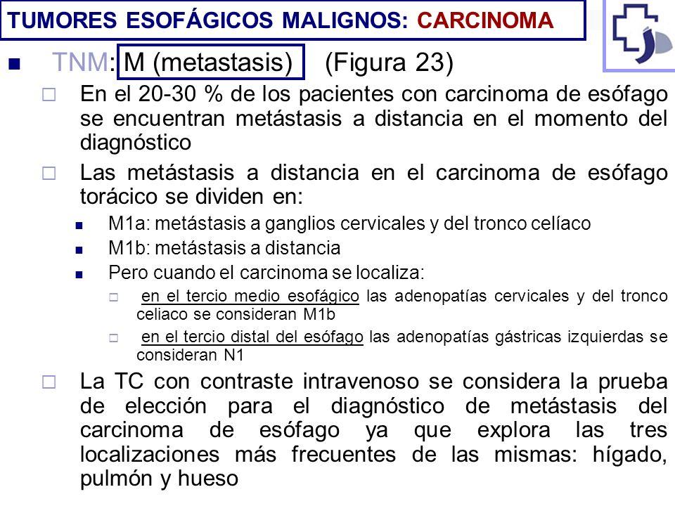 TNM: M (metastasis) (Figura 23) En el 20-30 % de los pacientes con carcinoma de esófago se encuentran metástasis a distancia en el momento del diagnós