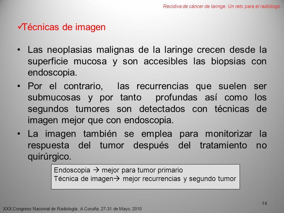 Técnicas de imagen Las neoplasias malignas de la laringe crecen desde la superficie mucosa y son accesibles las biopsias con endoscopia.