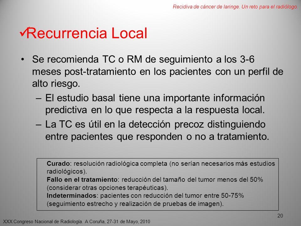 Recurrencia Local Se recomienda TC o RM de seguimiento a los 3-6 meses post-tratamiento en los pacientes con un perfil de alto riesgo.