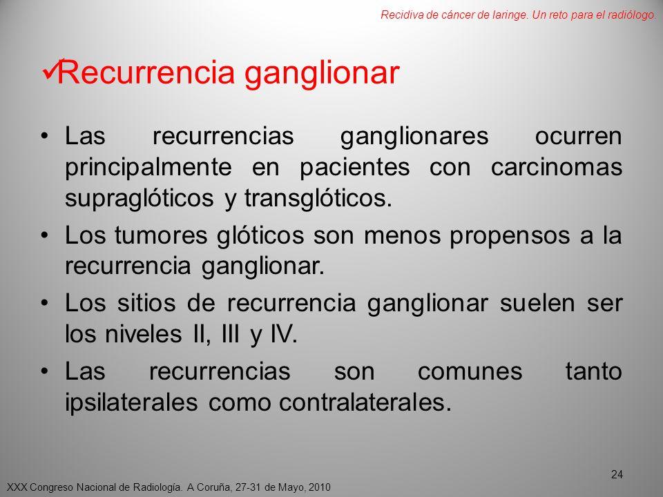 Recurrencia ganglionar Las recurrencias ganglionares ocurren principalmente en pacientes con carcinomas supraglóticos y transglóticos.