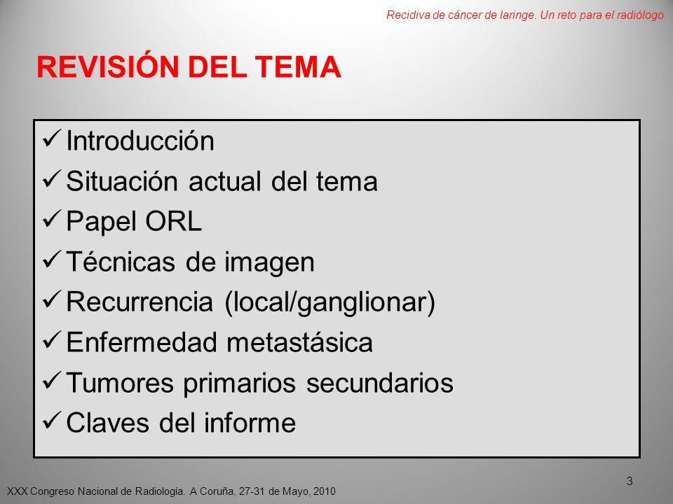 REVISIÓN DEL TEMA Introducción Situación actual del tema Papel ORL Técnicas de imagen Recurrencia (local/ganglionar) Enfermedad metastásica Tumores primarios secundarios Claves del informe XXX Congreso Nacional de Radiología.